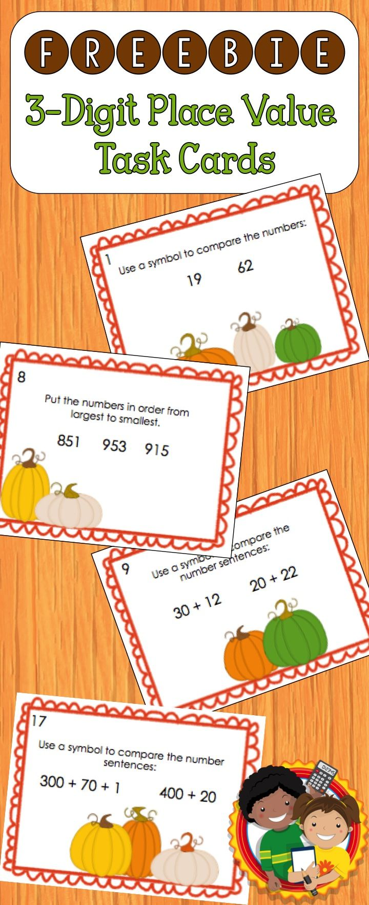 This resource includes 24 place value task cards with a pumpkin theme. They are perfect for fall or autumn math centers. Topics include: comparing numbers, number forms, putting numbers in order.