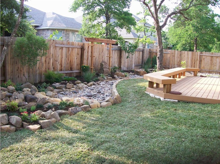 Simple Garden Bench; Solitary Wood Arch: Benches Ideas, Rivers Beds, Backyard Ideas, Backyard Landscape, Design Ideas, Rivers Rocks, Back Yards, Photo, Gardens Benches
