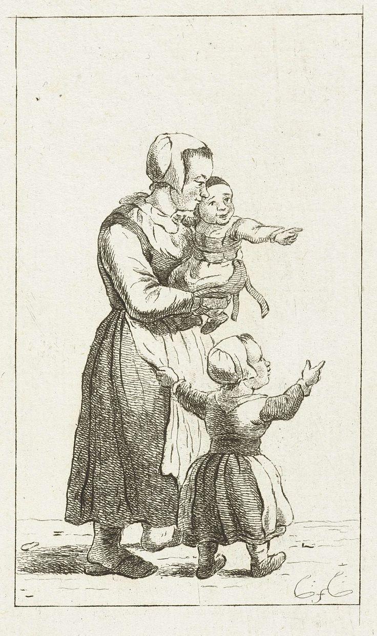 Pieter de Mare | Moeder met twee kinderen, Pieter de Mare, 1777 - 1779 | Een moeder met twee kinderen, naar rechts. Het jongste kind wordt op de arm gedragen. Het oudste kind is een meisje. Ze trekt aan haar moeders schort.