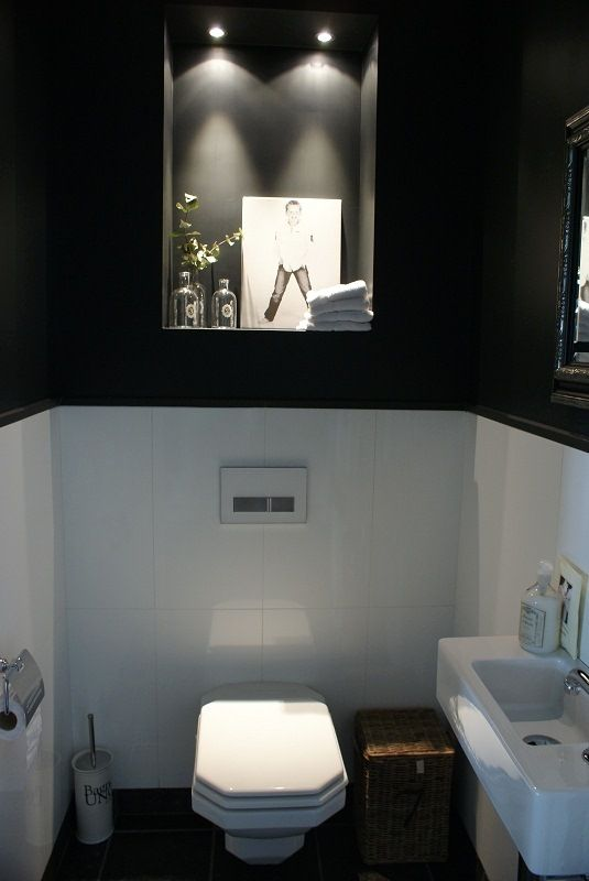 Wc zwart wit behang google zoeken interior design pinterest wit behang modern wonen en - Deco toilet zwart ...