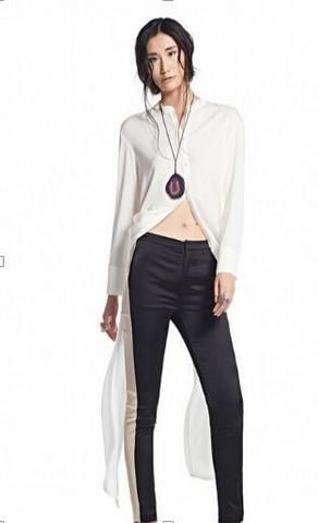 White Sheer Chiffon Long-Sleeved Blouse w/Tail Ties