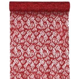 Chemin de table dentelle métallique rouge 5 M