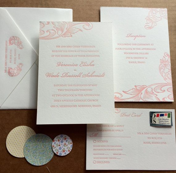 Letterpress Wedding Suite / Elegant Custom Wedding Invitation / Luxury Victorian Vintage Edwardian Traditional / Coral Pink