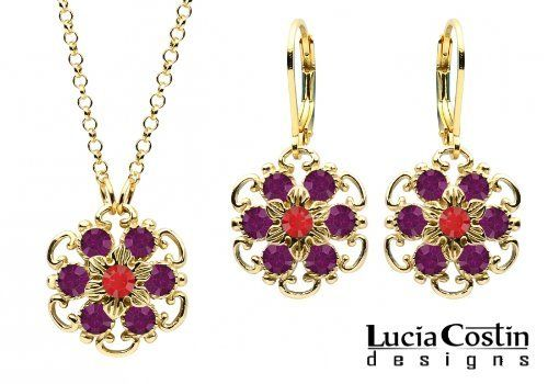 14K Yellow Gold over .925 Sterling Silver Pendant and Earrings Set Designed by Lucia Costin with 6 Petal Middle Flowers Surrounded by Dots, Twisted Lines, Red and Violet Swarovski Crystals; Handmade in USA Lucia Costin. $105.00. Unique jewelry handmade in USA. Lucia Costin floral set of jewelry. Wonderfully designed with light siam and purple Swarovski crystals. Splendid combination of dangle elements. Mesmerizing enough to wear on special occasions, but durable enou...