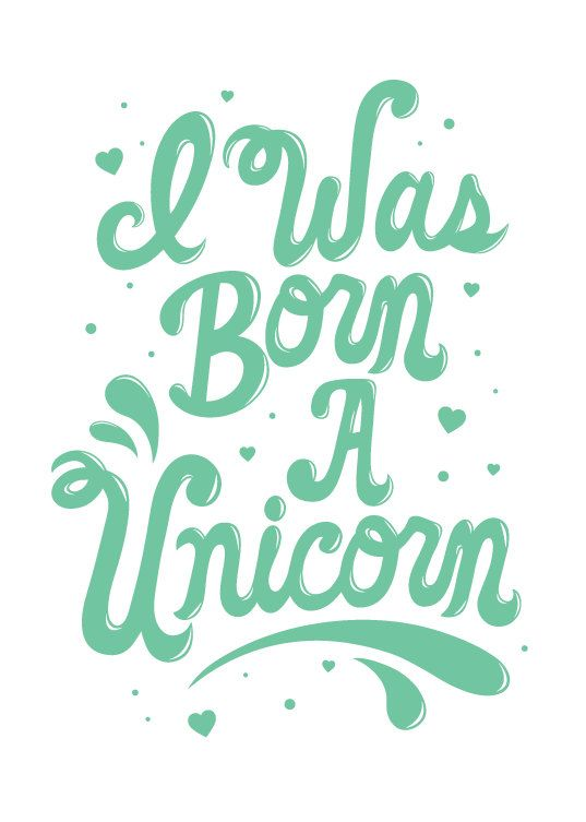 "I Was Born A Unicorn 5""x7"" print. $12.00, via Etsy."
