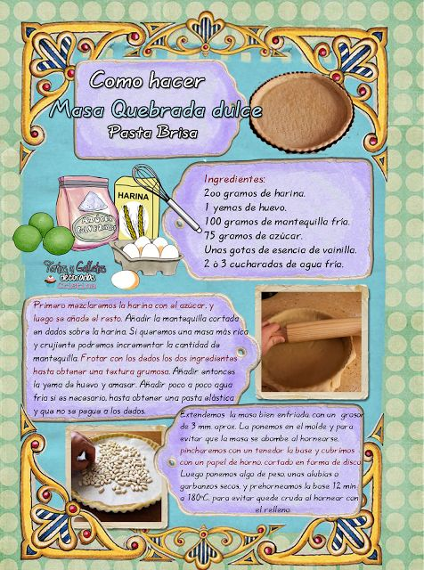 Tartas, Galletas Decoradas y Cupcakes: MASA QUEBRADA DULCE