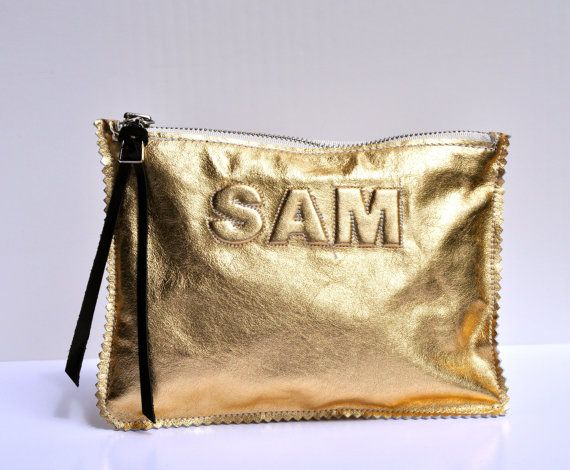 saint handbag - Small Metallic Gold Leather Clutch, Leather Pouch, Leather ...