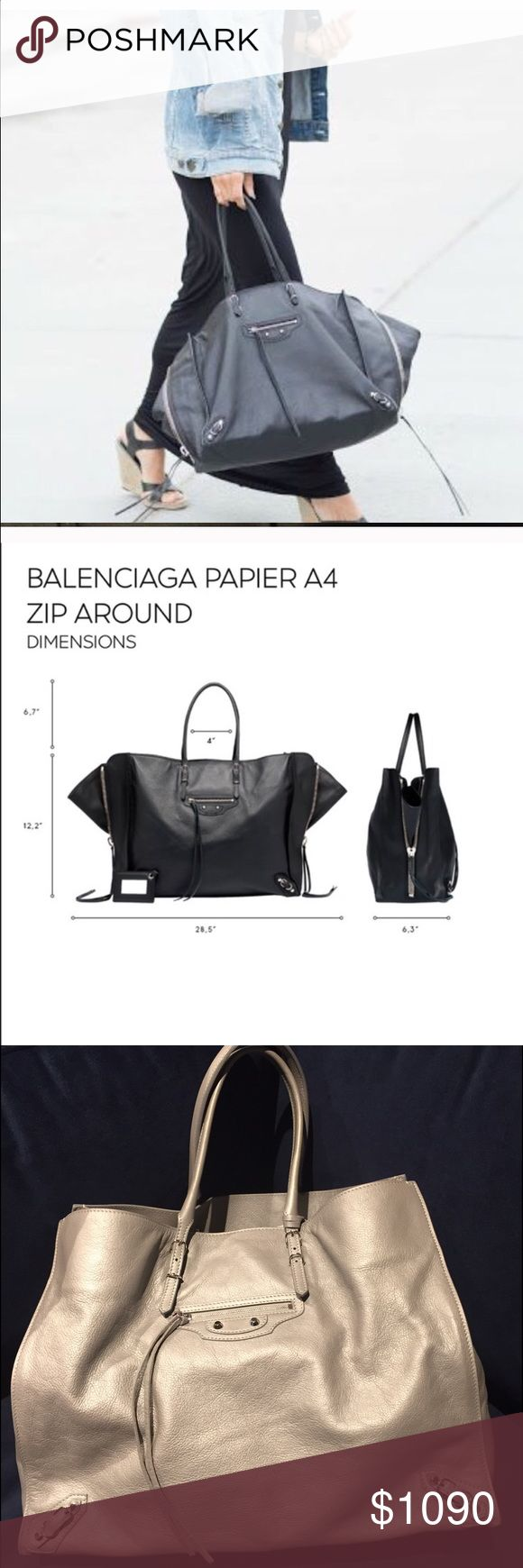 Balenciaga papier zip-around B4 AJ Tote Bag This bag is. Beauty!! It's a very IT HOT bag rightnow! I just got it today from another posher and it's in MInT condition don't really see any signs of wear but decided not to keep it. I do this all the time as I have some issues. Just trying recoup my cost. Balenciaga Bags