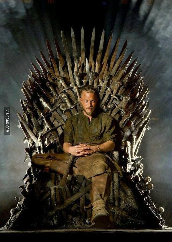 Vikings / GoT humour: The true King of the North.... Travis Fimmel as Ragnar Lodbrok on the Iron Throne