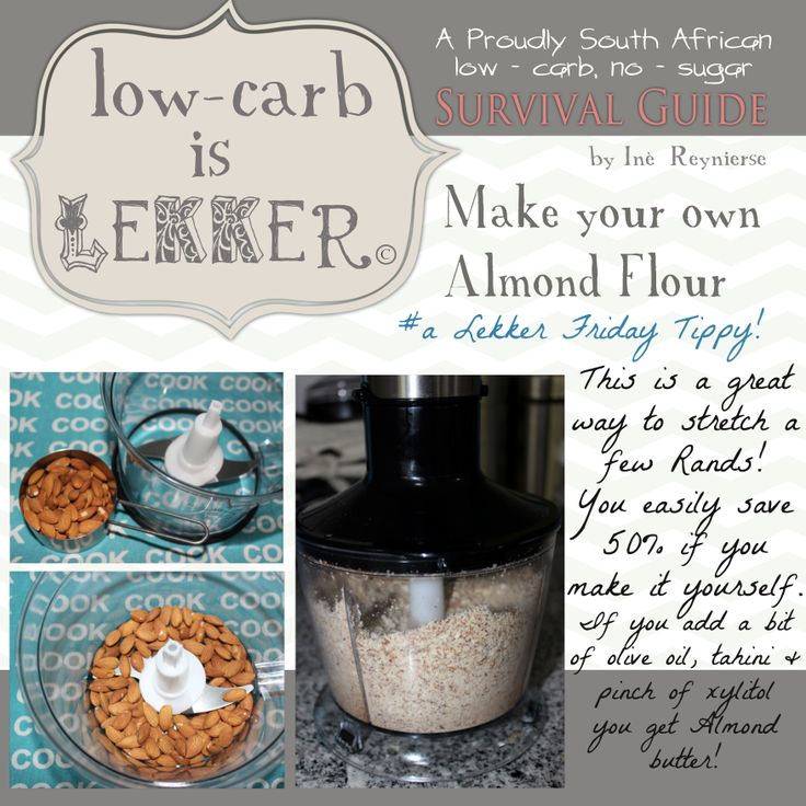 It is easy and cost effective to make your own Almond flour.  This forms one of the main ingredients when baking low - carb goodies or treats.