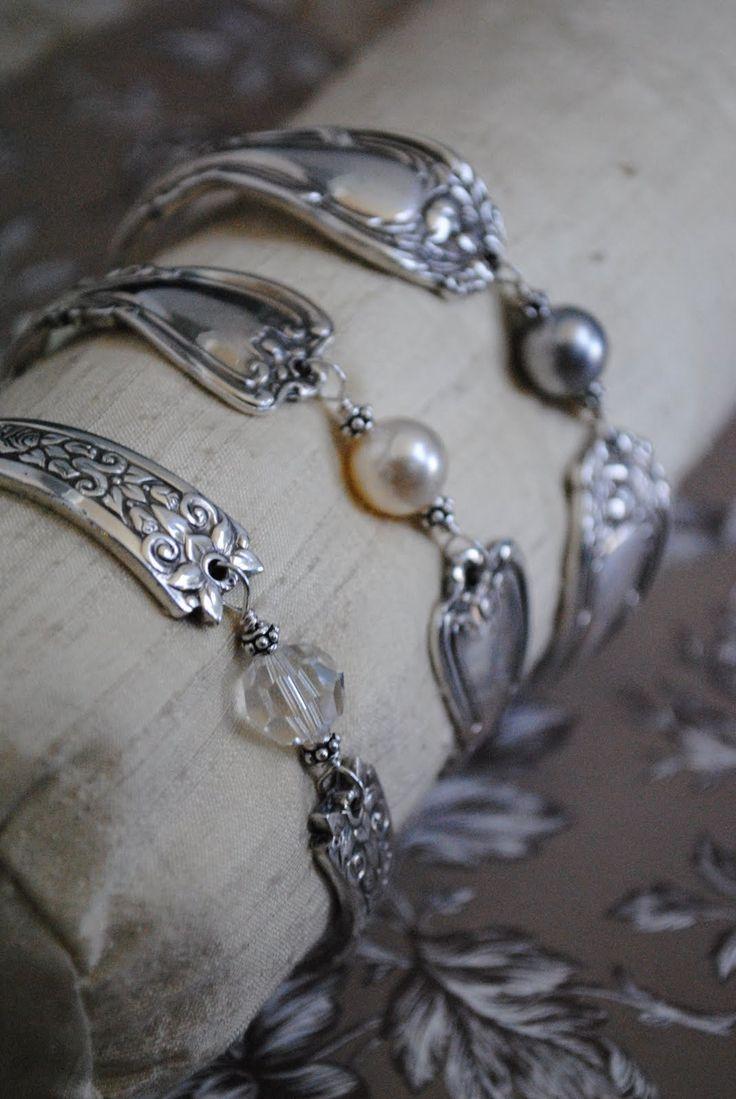 Silver Spoon Jewelry: Idea, Craft, Jewelry Making, Spoon Bracelet, Silver Spoons, Silver Spoon Jewelry, Silverware Jewelry