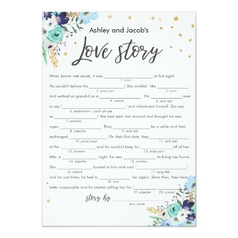 Love Story Mad Libs Bridal Shower Game Travel Blue