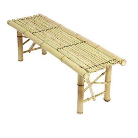 ProSource Tiki Bamboo Bench Tropical Coffee Table for Patio Bar