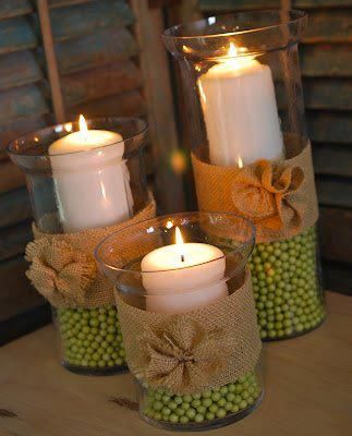 VelasDecor Ideas,  Tapered, Coffee Beans, Spring Decor, Candles Holders, Beads, Burlap Rosette,  Wax Lights, Hurricane Vases