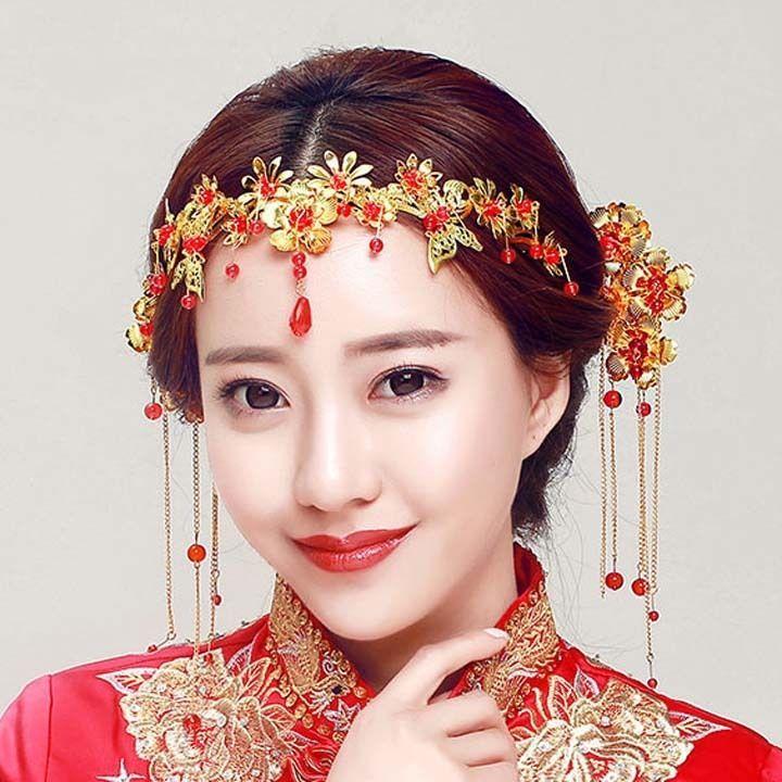 Las mejores 16 imágenes de Wedding Chinese Phoenix Crown gold tone ...