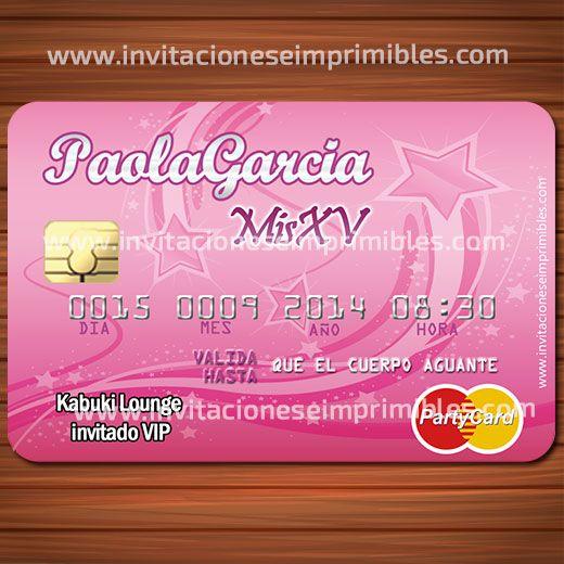 Invitacion imprimible tarjeta de credito 15 años