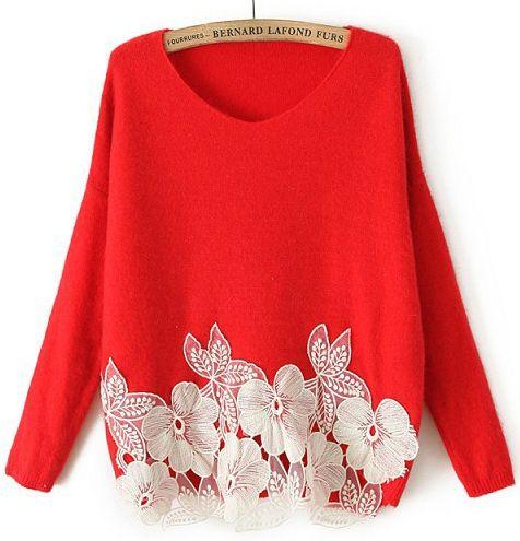 Red Long Sleeve Lace Flower Sweater - Sheinside.com