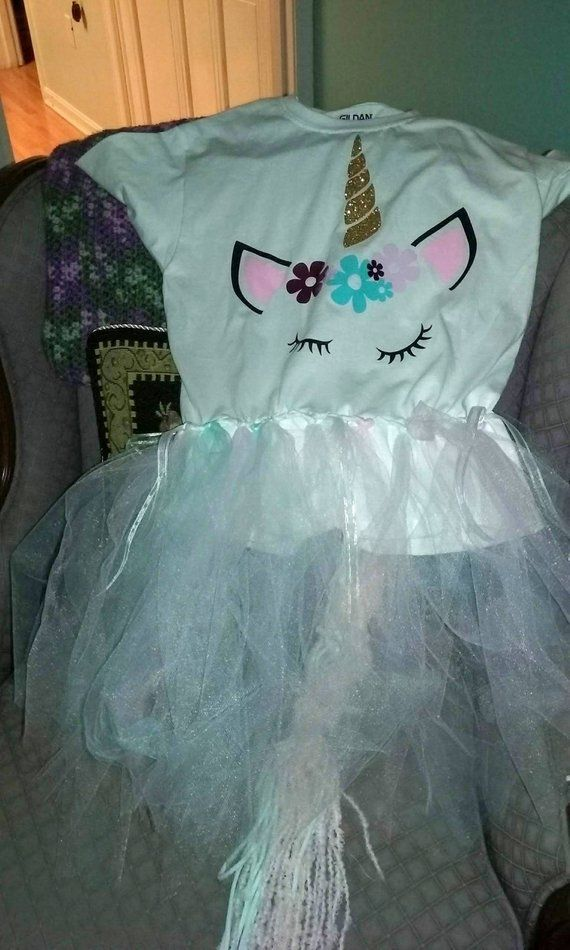 c4a3341d Unicorn face T-shirt with tu-tu skirt and tail. Free shipping, handmade, Halloween  costume. Pink, Light Blue, White