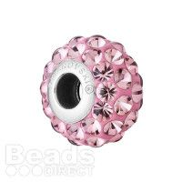 80501 Swarovski Crystal Bubble BeCharmed Pave Bead 14mm Antique Pink Pk1