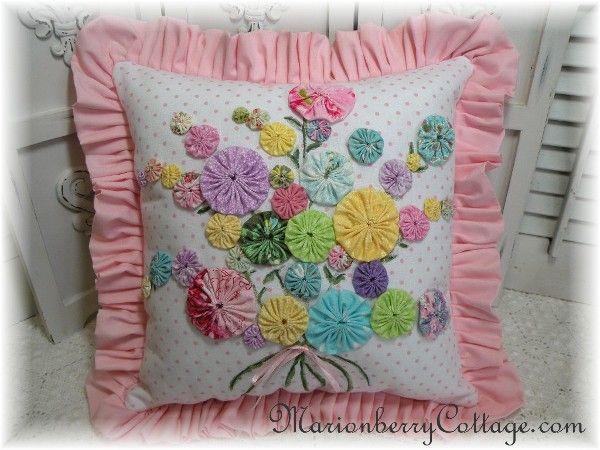 Pink Shabby Vintage Cottage YO YO bouquet pillow