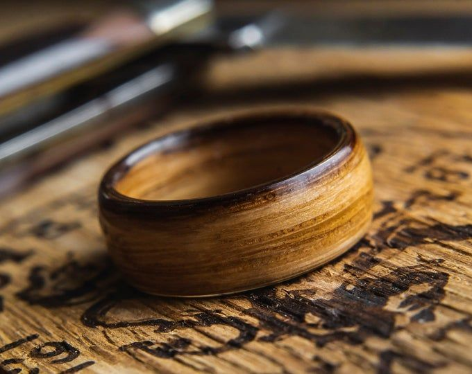 Genuine Whiskey Barrel staves White Oak charred wood ring custom size width ring rustic wood ring distressed looking ring Recycled wood
