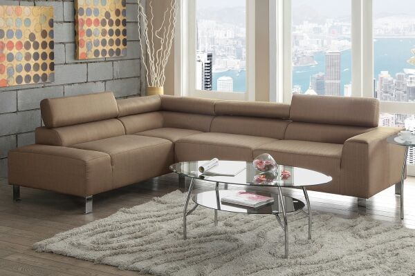 New 2 pc tan linen sectional