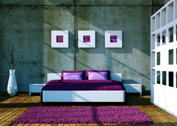 Modernes-Schlafzimmer-gestalten-Lila-Weiß-lila-Teppich