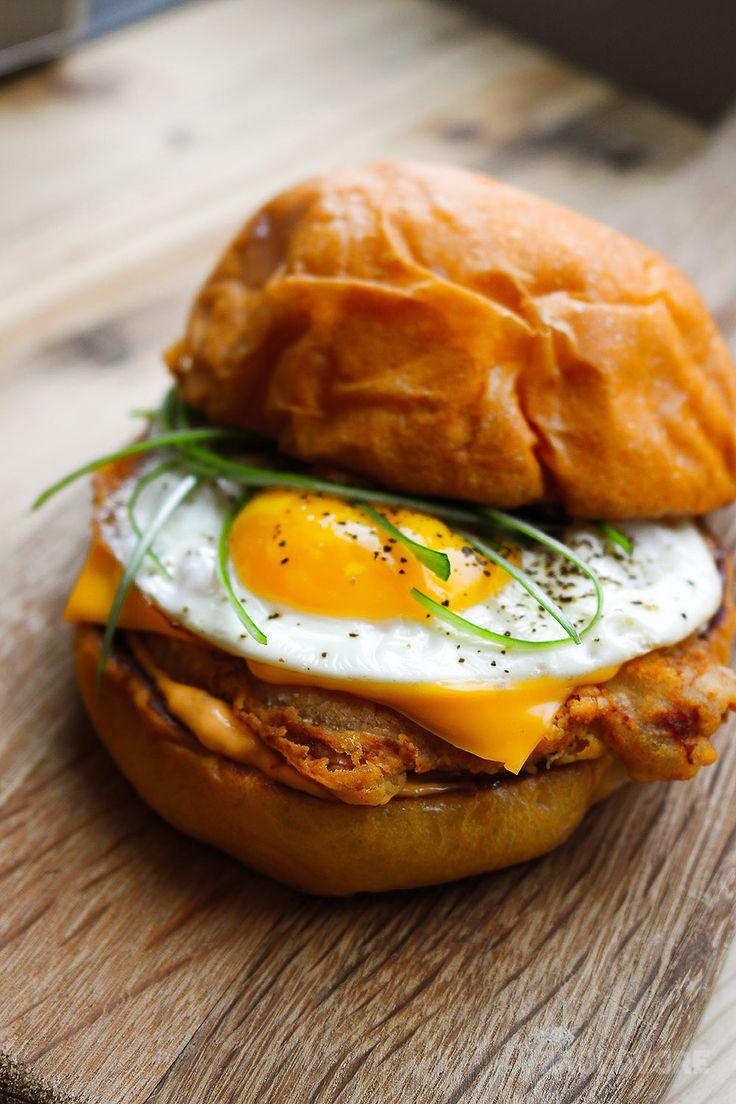 If bacon is good on a breakfast sandwich, a deep fried pork chop is even better. | http://www.brocavore.com #breakfastsandwich #bec