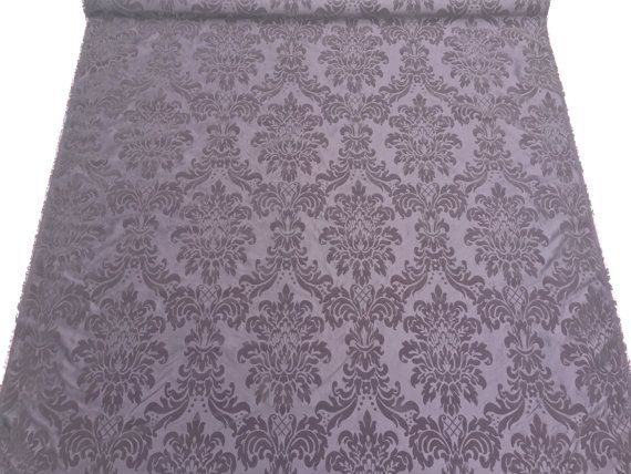 Aubergine purple taffeta fabric velvet flock by TheFabricShopUK