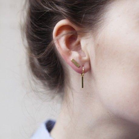 INGOT RING EARRING GOLDPLATED