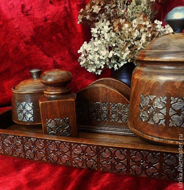 """Купить Большой набор для кухни """"Дачный"""" - коричневый, серебряный, кухонный интерьер, кухня, посуда, для интерьера"""