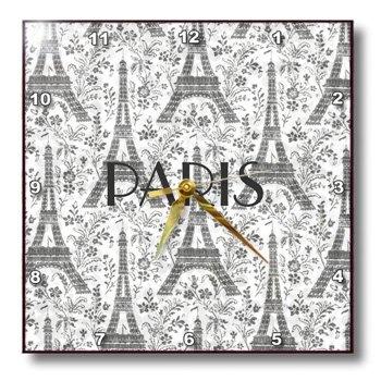 Amazon.com: cinza prateado Torres Eiffel Com Paris escrito em preto - 13x13 relógio de parede: Casa e Cozinha