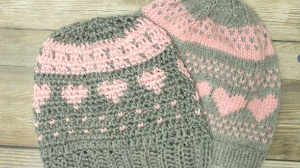 Crochet Fair isle and knit stitch hat
