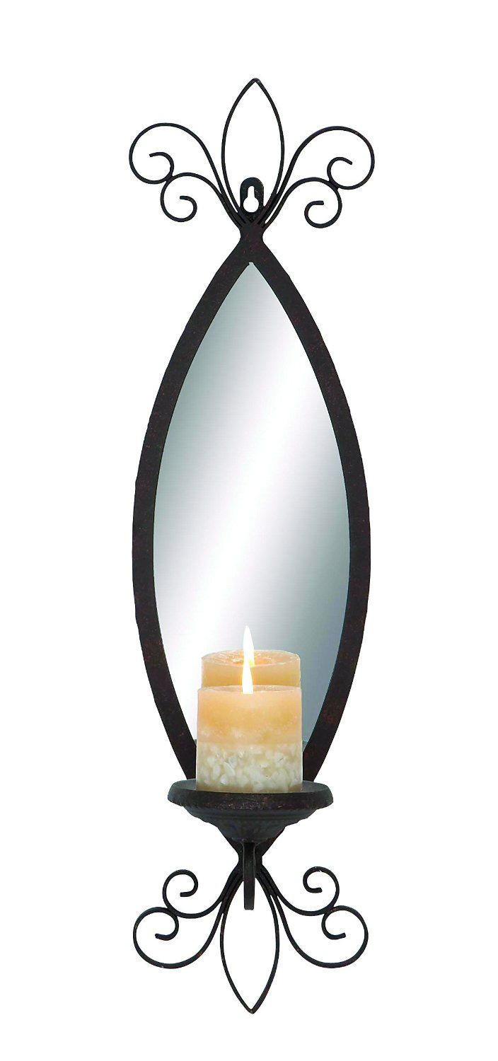 11 best candleholders images on pinterest candle wall sconces amazon benzara mirror candle sconce with secure loop and swirl accents amipublicfo Image collections