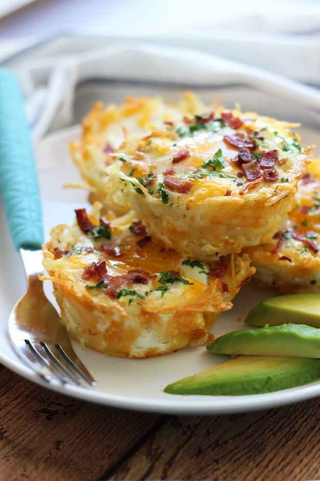 Hash Brown Nests with Bacon and Avocado