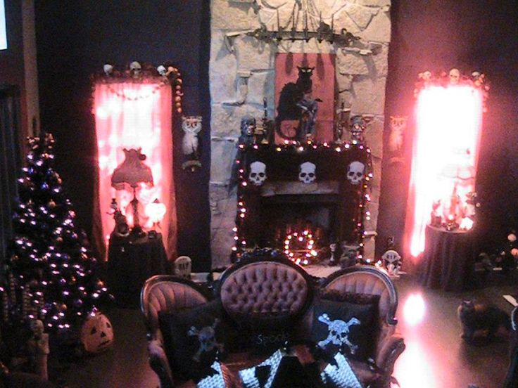 Halloween Decorated Victorian Goth Living Room Love