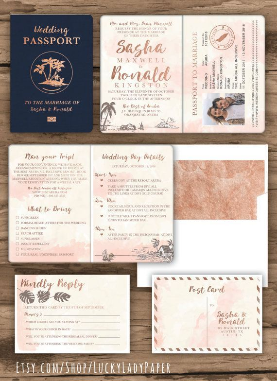 Beach Wedding Passport Save The Date Destination Invitation Set In
