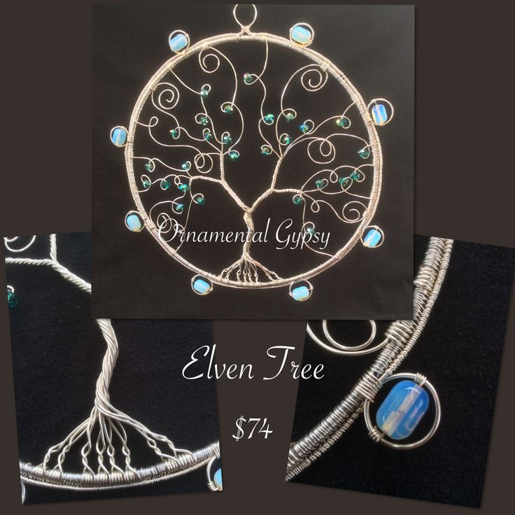 """""""Elven Tree"""" Sun-catcher/Wall-hanger. Twisted wire tree with Teal faceted beads set in an 8inch hoop. Surrounded with 8 Opalite barrel beads. Double wire weave encases the entire outer circles."""