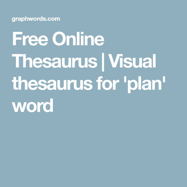 Free Online Thesaurus   Visual thesaurus for 'plan' word