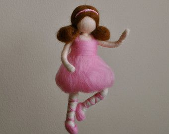 Girls Mobile Waldorf inspired needle felted : Ballerina with pink laces