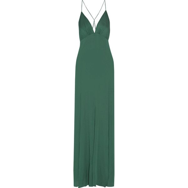 Haute Hippie Silk-blend crepe de chine gown ($325) ❤ liked on Polyvore featuring dresses, gowns, long dresses, green, haute hippie dresses, long green evening dress, green dress, green evening dress and green evening gown