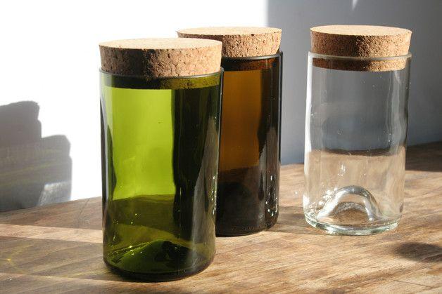 Vorratsdosen - 4 Vorratsgläser aus Weinflaschen mittel - ein Designerstück von Wandelwerkdesign bei DaWanda