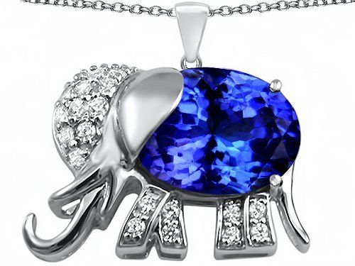 Original Star K(tm) Large 12x10mm Oval Simulated Tanzanite Good Luck Elephant Pendant in 925 Sterling Silver Star K. $99.99. Star K. Designs are exclusive and protected by Copyright Laws. Free Chain in a matching metal will be included. Guaranteed Authentic from the Star K designer line