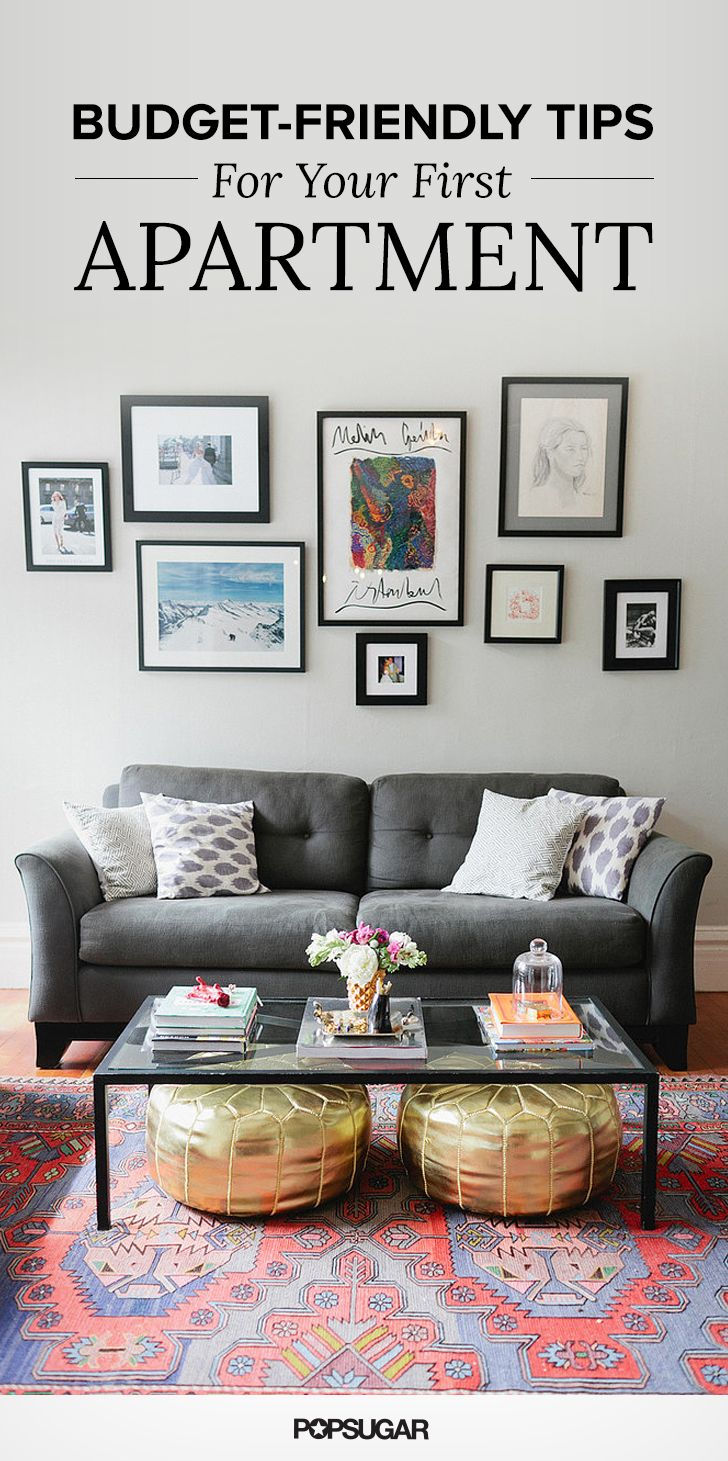 Living room with gray sofa, gallery wall, and gold poufs | Affordable Decor