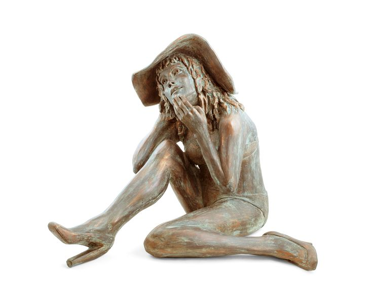 Seated female hand built using white earthenware clay and finished with a bronze patina.  TAKING A BREAK
