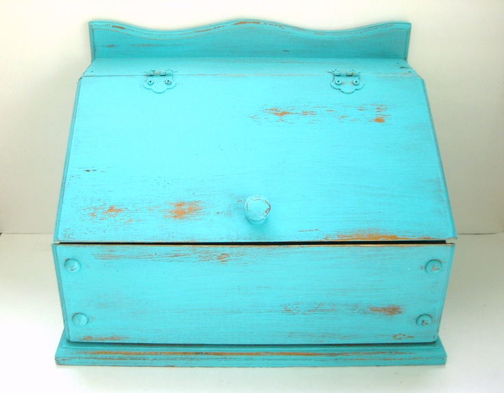 Turquoise Bread Box - Shabby Chic Distressed Rustic - Kitchen Decor. $55.00, via Etsy.