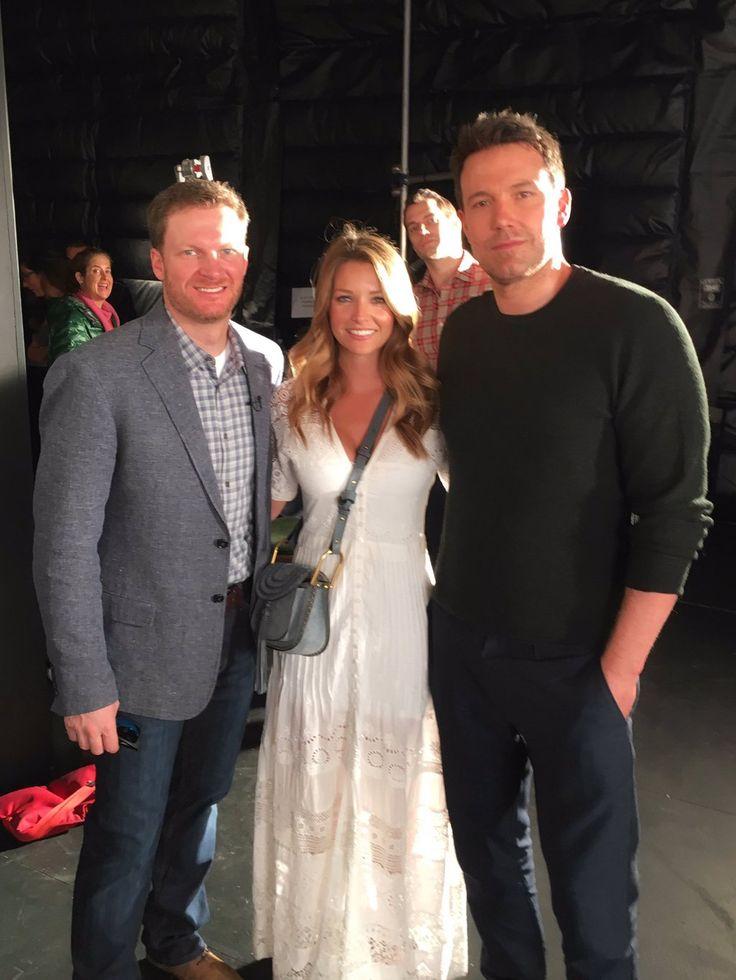 Dale Jr. & Amy with Ben Afflick. Now that's a Batman sandwich. 2016