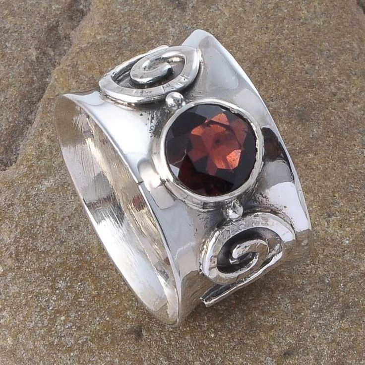 ANTIQUE 925 STERLING SILVER GARNET CUT 6.96g RING JEWELLERY R01166 #Handmade #RING