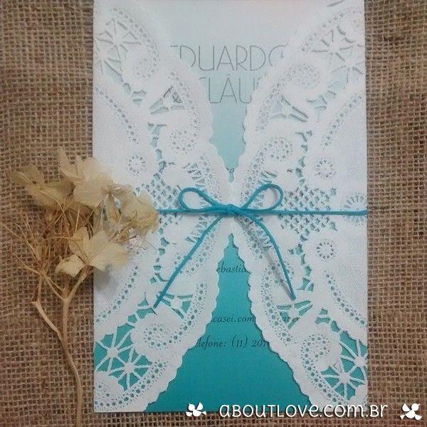 Convite de casamento estilo ombré com papel rendado - AboutLove