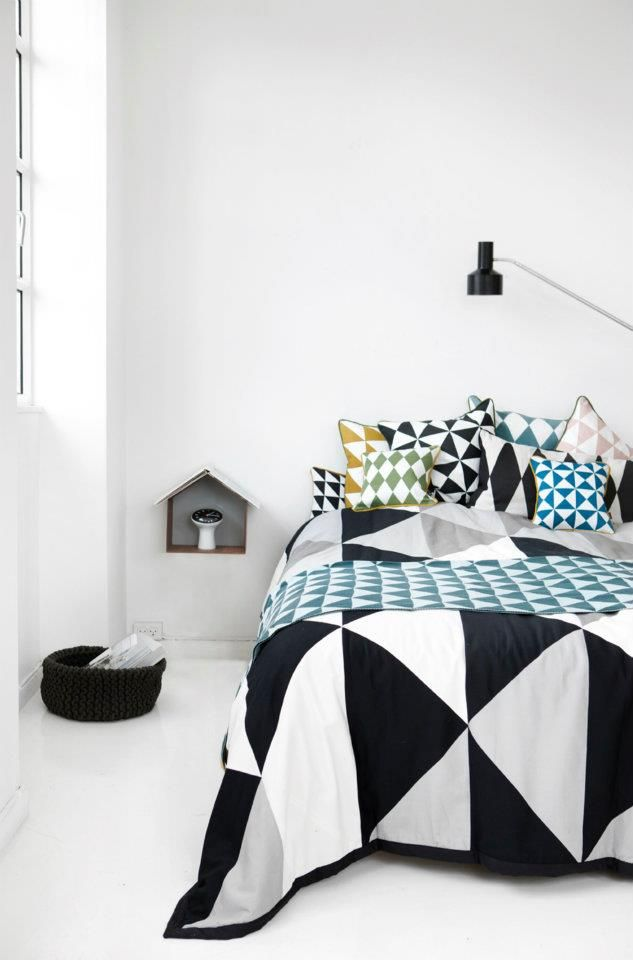 Modern Quilt for new bedroom? love the idea of all of those matching handmade cushions to match the quilt
